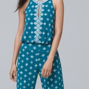 WHBM Teal Sleeveless Mixed Printed Jumpsuit